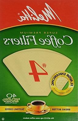 Melitta Cone Coffee Filters No. 4 Unbleached Natural Brown 4