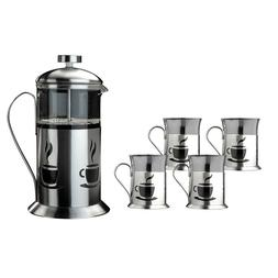 French Press 5 Piece Set Coffee Maker Stainless Steel Plunge