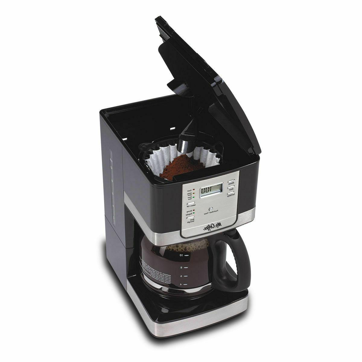 12-Cup Programmable Coffee Maker Black/Stainless Steel Mr. C